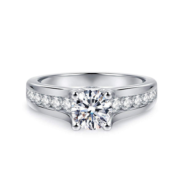 CERTIFIED 1.70ct 4-Prong Cubic Zirconia CZ Silver Solitaire Engagement Ring