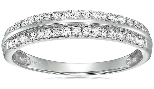 CERTIFIED 1/3 ctw Diamond Wedding Band Prong Set in 14K White Gold
