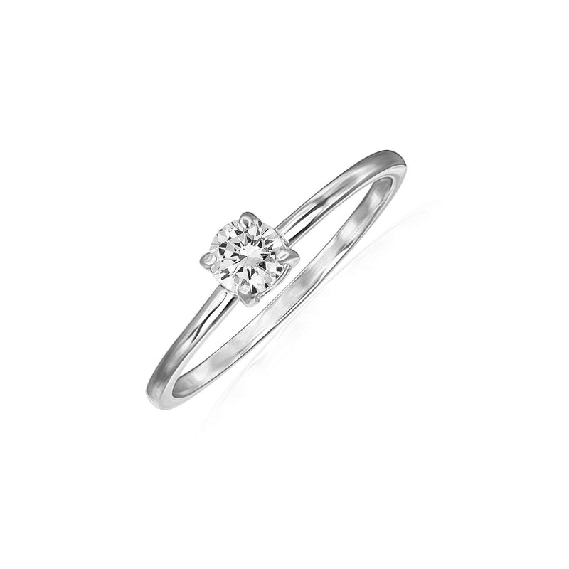 CERTIFIED River Island Sterling Silver 4 mm Solitaire Halo Cubic Zirconia Engagement Ring