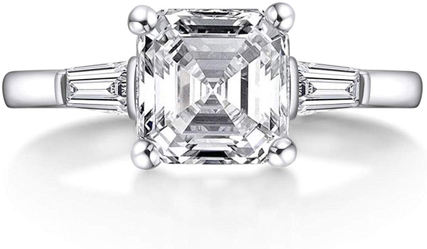 3 CT Sterling Silver Asscher Cut Cubic Zirconia CZ 3-Stone Engagement Ring