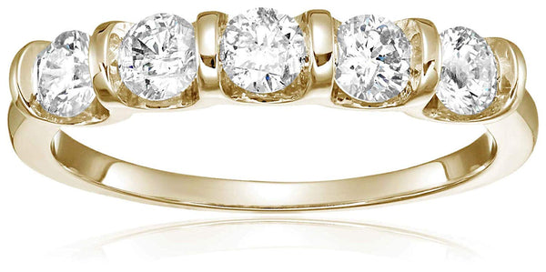 CERTIFIED 1 cttw Certified 5 Stone Channel Set Ring 14K White Gold