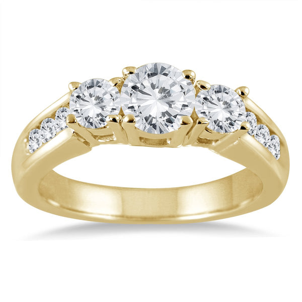 AGS Certified 1.50 Carat TW Diamond Three Stone Ring in 10K Gold