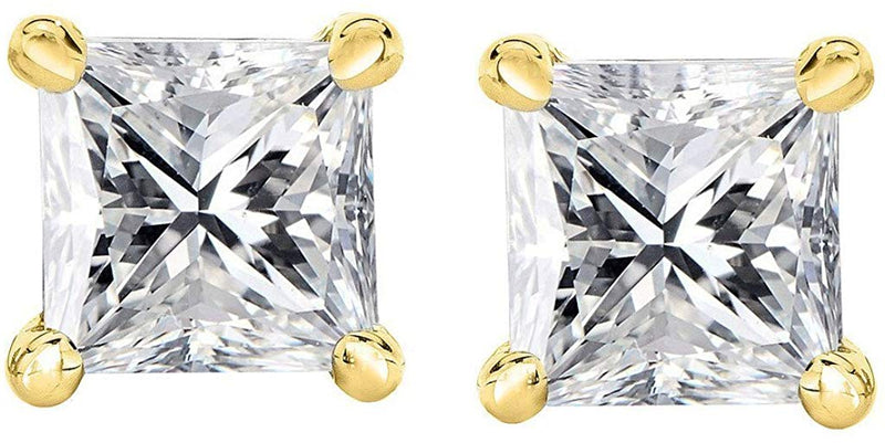 PARIKHS Bright White IGI Certified Princess cut Diamond stud from 0.10ct & above in Promo Quality 14K (Color-FGH, Clarity-I3) available from 0.04ct upto 2.00ct