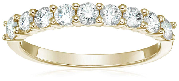 CERTIFIED 3/4 cttw Diamond Wedding Band 14K White Gold 9 Stones Prong Set
