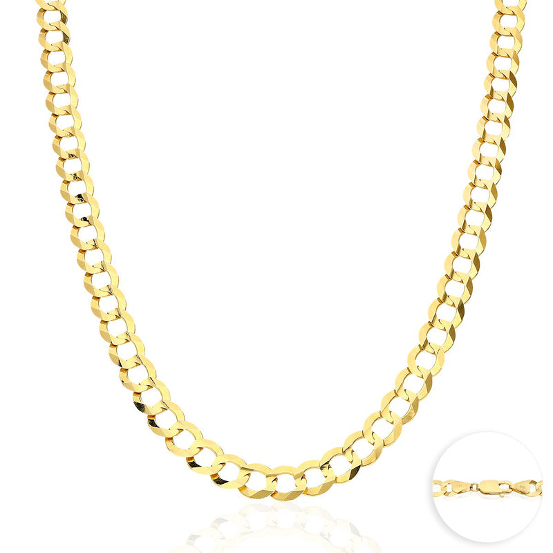 "reamra CERTIFIED Solid 14k Yellow Gold 8.2mm Cuban Curb Chain Necklace 24"" 26"" 28"" 30"""