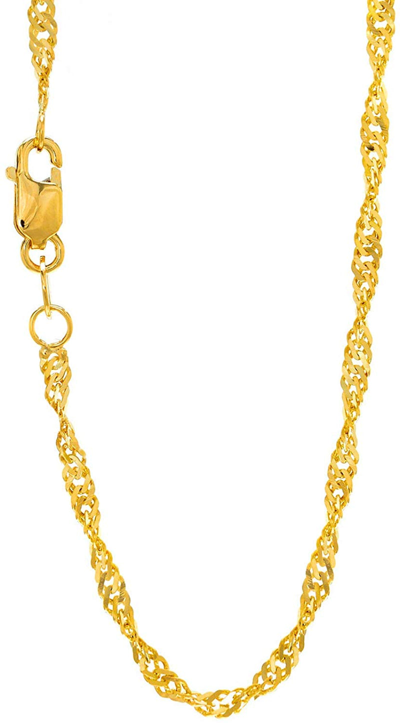 14k Solid Gold Yellow or White 1.5 mm Singapore Chain Necklace, Lobster Claw