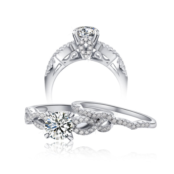 CERTIFIED 1.7Ct Wedding Engagement Ring Sets  Round AAA Cz 925 Sterling Silver