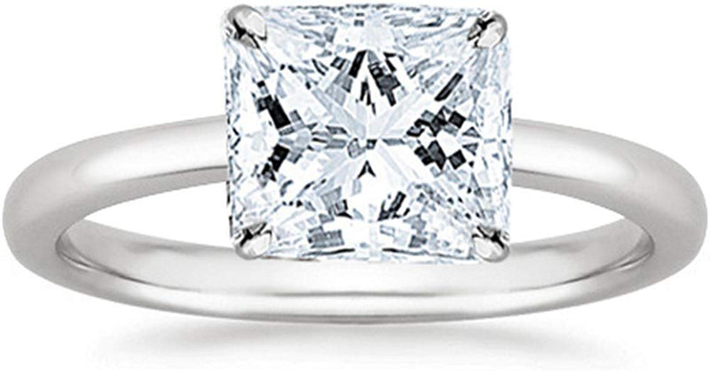 1/2 Carat GIA Certified 18K White Gold Solitaire Princess Cut Diamond Engagement Ring (0.5 Ct I-J Color, I1 Clarity)