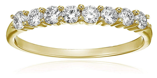 CERTIFIED 1/2 cttw Diamond Wedding Band in 14K Gold 8 Stones Prong Set Near Colorless