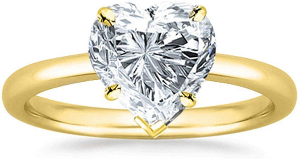 GIA Certified 1/2 Carat  18K White Gold Solitaire Heart Cut Diamond Engagement Ring (0.5 Ct I-J Color, VVS1-VVS2 Clarity)