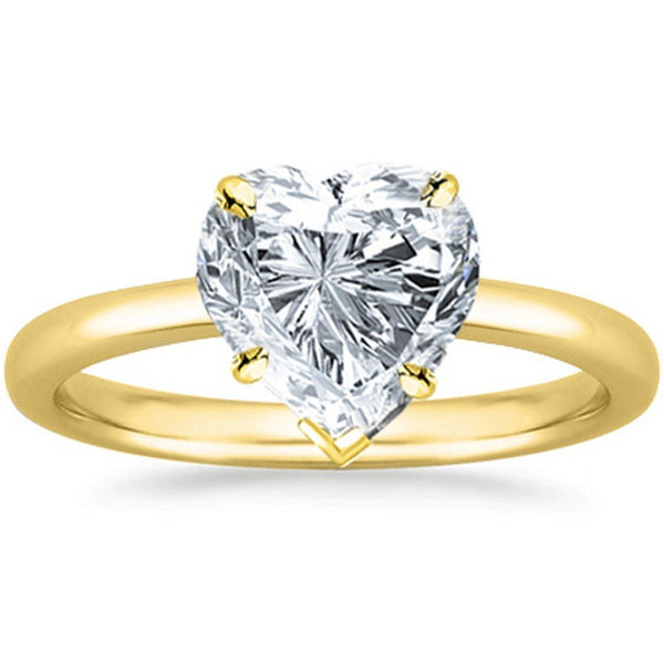 GIA | 0.46 Ct Certified Heart Cut Solitaire Diamond Engagement 14K Gold Near Colorless (G)