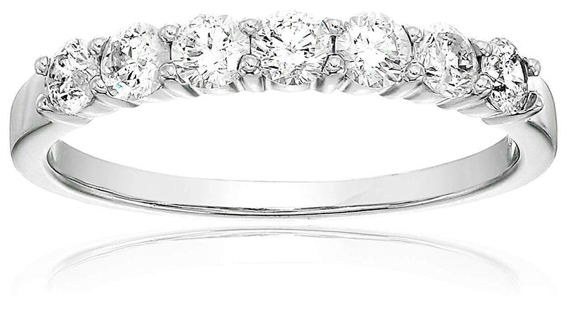 CERTIFIED 3/4 cttw 7 Stone Diamond Wedding Band in 14K Gold Prong Set