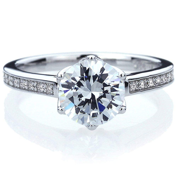 CERTIFIED 2 carat Sterling Silver Ring CZ Stone 6 Prong Solitaire Wedding Ring