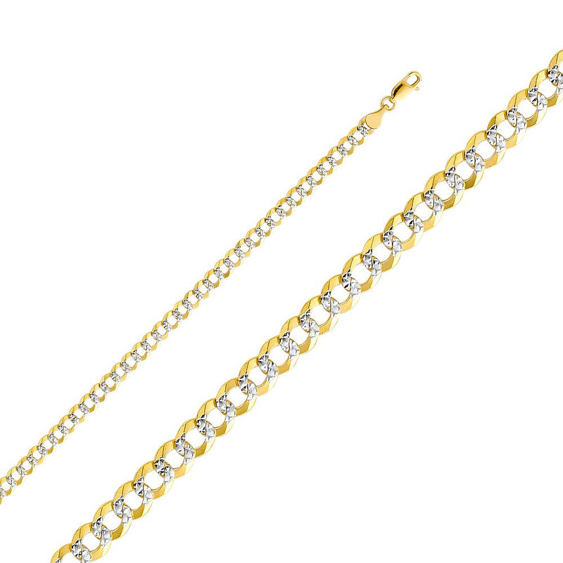 CERTIFIED 14k Two Tone Gold Solid Men's 4.5mm Cuban Curb White Pave Chain Necklace with Lobster Claw Clasp