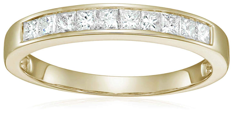 CERTIFIED 1/2 CT Princess Cut Wedding Band in 14K Gold