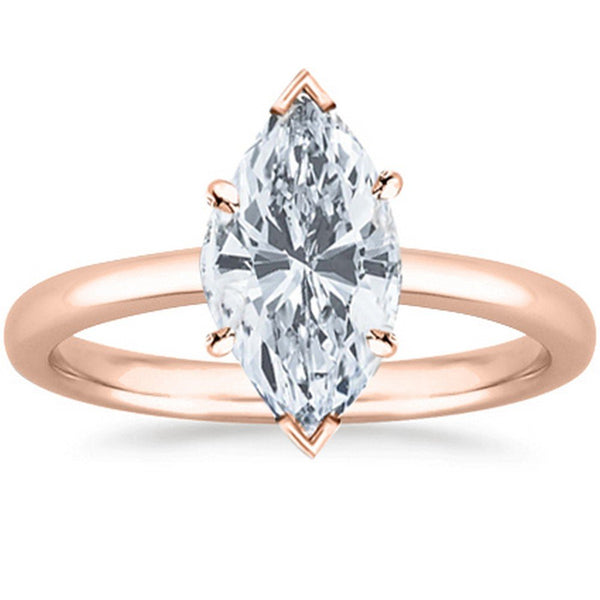1 Ct GIA Certified Marquise Cut Solitaire Diamond Engagement Ring 14K White Gold (D Color SI1 Clarity)