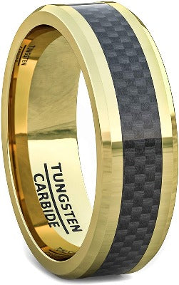 CERTIFIED 8mm Gold Tungsten Ring Black Carbon Fiber Surface Beveled Edges Comfort Fit