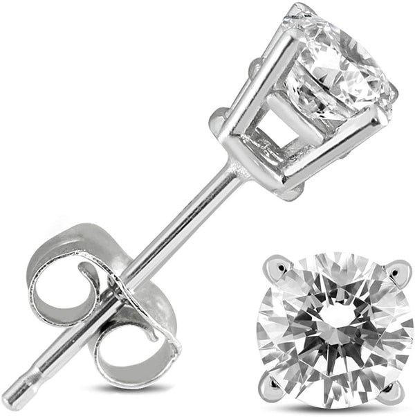 AGS Certified 1/2 Carat TW  (H-I Color, I2-I3 Clarity) Round Diamond Solitaire Stud Earrings in 14K White Gold