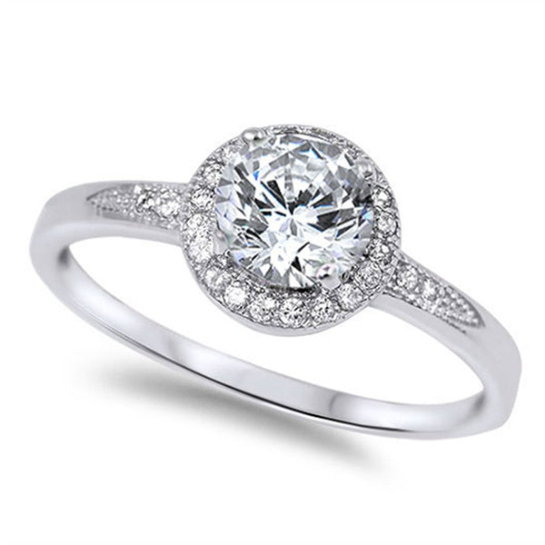 CERTIFIED 1.25ct Halo Set Solitaire Cubic Zirconia & Simulated Gemstone Promise Engagement Ring .925 Sterling Silver Ring