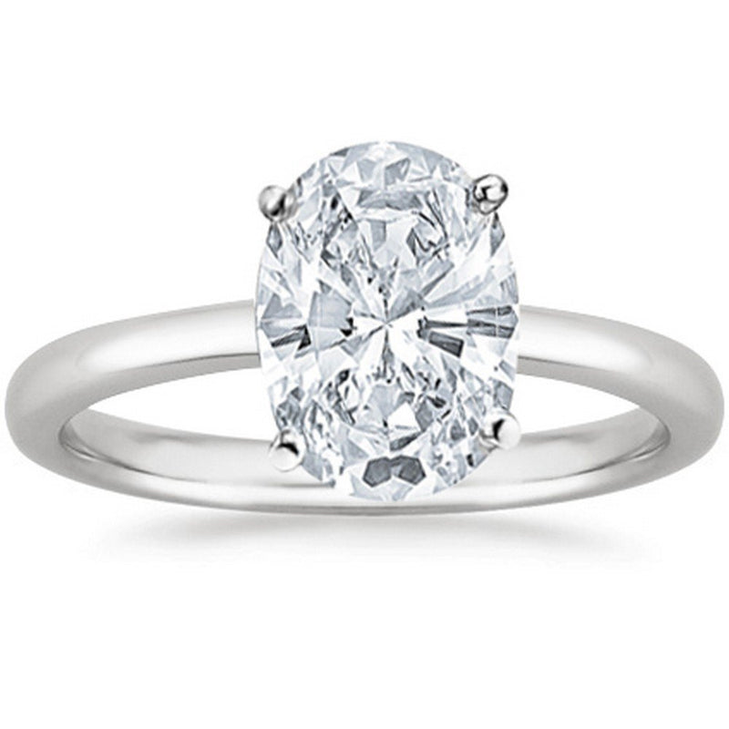 3/4 Ct GIA Certified Oval Cut Solitaire Diamond Engagement Ring 14K White Gold (D Color SI2 Clarity)