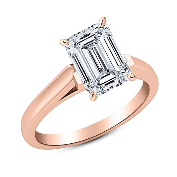 3/4 Ct GIA Certified Emerald Cut Cathedral Solitaire Diamond Engagement Ring 14K White Gold (G Color VS1 Clarity)