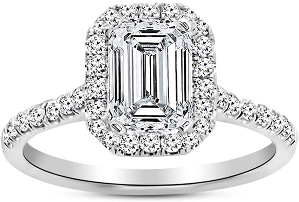 1 Carat 14K White Gold Halo Emerald Cut GIA Certified Diamond Engagement Ring (0.5 Ct E Color VVS2 Clarity Center Stone)