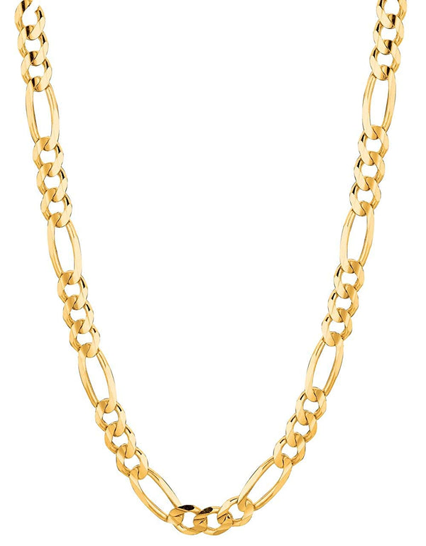 CERTIFIED 14Kt Solid Yellow Gold Classic Figaro Curb Link Chain/Necklace 7Mm (Fig180