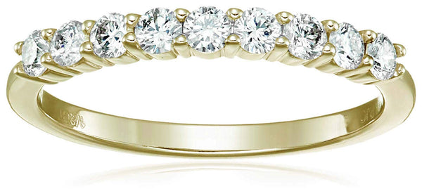 CERTIFIED 1/2 cttw Diamond Wedding Band in 14K  Gold 9 Stones Prong Set