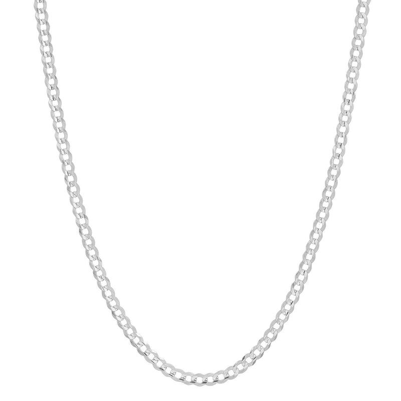 reamra CERTIFIED Forever Flawless Jewelry 14K White Gold 2.6mm Concave Curb Classic Link Chain Necklace