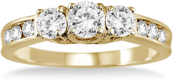 AGS Certified 1 Carat TW Diamond Three Stone Ring in 10K Yellow Gold (K-L Color, I2-I3 Clarity)