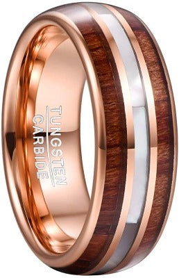 CERTIFIED 8mm Hawaiian Koa Wood Tungsten Rings Mother of Pearl Shell Wedding Band