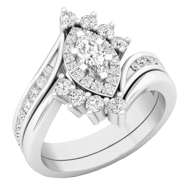 CERTIFIED   1.00 Carat (ctw) 10K Gold Marquise & Round Diamond Bridal Engagement Ring Set 1 CT