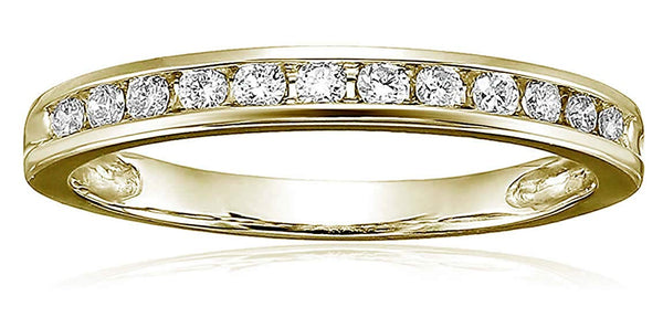 CERTIFIED  1/4 cttw Classic Diamond Wedding Band in 14K Gold Channel Set