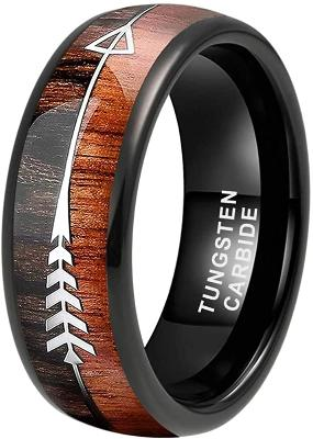 CERTIFIED 8mm Tungsten Rings Wedding Bands Koa Wood Deer Antler Arrow Inlay