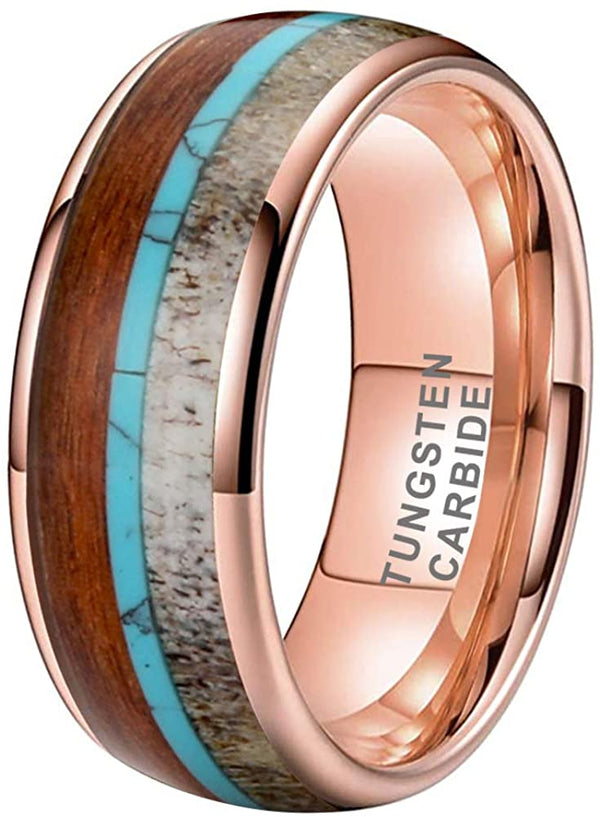 8mm Rose Gold Tungsten Wedding Bands Deer Antler Koa Wood Turquoise Meteorite Inlay