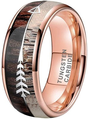 CERTIFIED 8mm Rose Gold Tungsten Wedding Bands Koa Wood Deer Antler Arrow Inlay