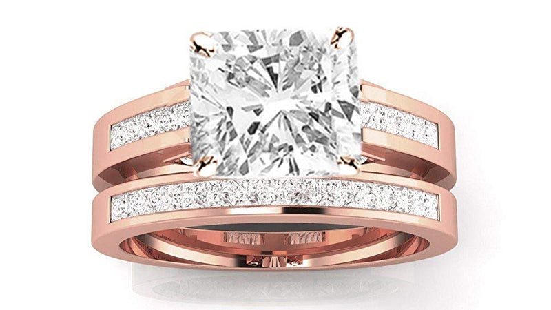 GIA | 1 ctw 14K Gold Channel Princess Cut GIA Certified Engagement Ring Bridal Set