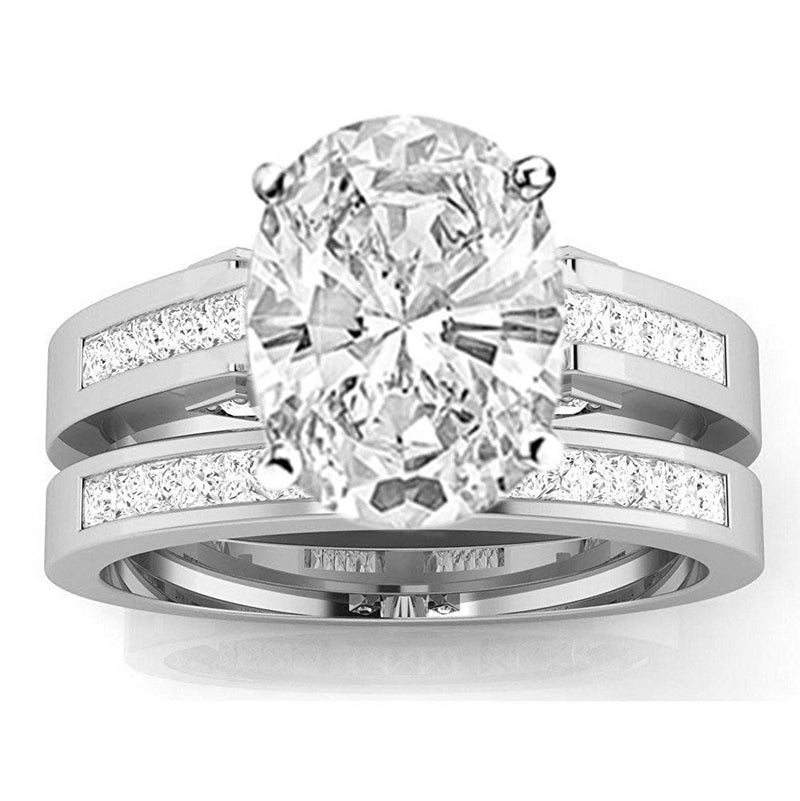bik 1.5 Ctw 14K White Gold Channel Princess Cut GIA Certified Diamond Engagement Ring Bridal Set Oval Shape (1 Ct G Color SI2 Clarity Center Stone)