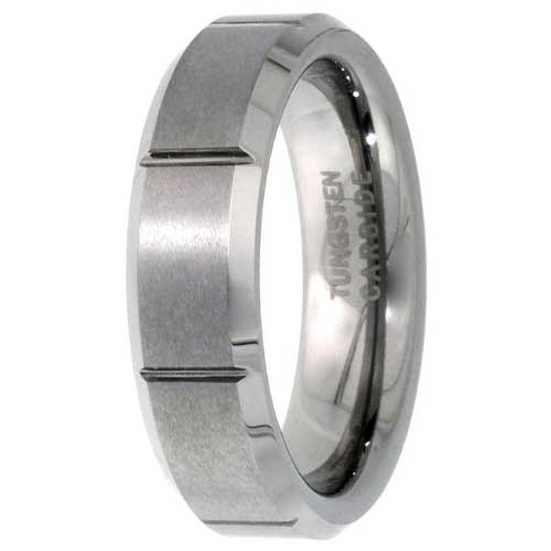 CERTIFIED Tungsten Flat Wedding Ring Satin Finished Vertical Grooves (Many Sizes)