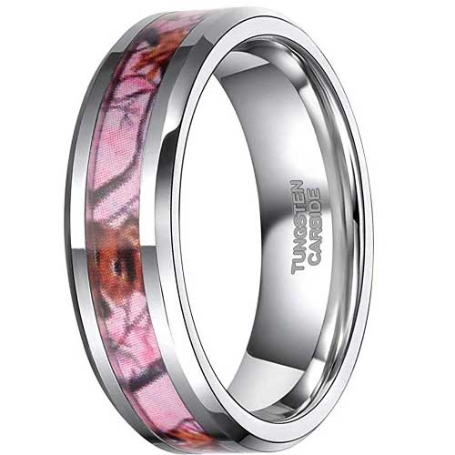 CERTIFIED Pink Camo Tungsten Deer Antlers Hunting Camouflage Band (Many Sizes)