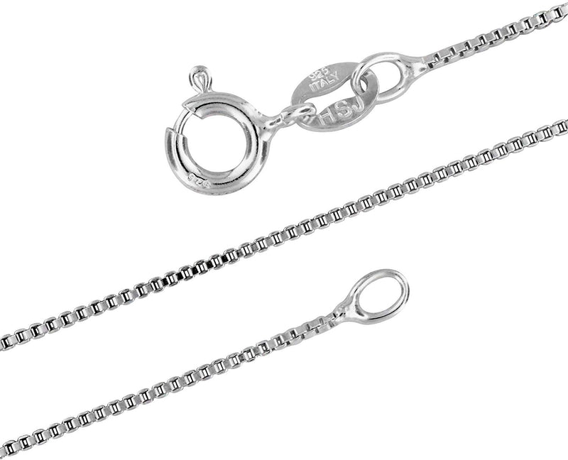 Sterling Silver 1mm Box Chain Necklace Bracelet Anklet Solid Italian Nickel-Free, 7-36 Inch