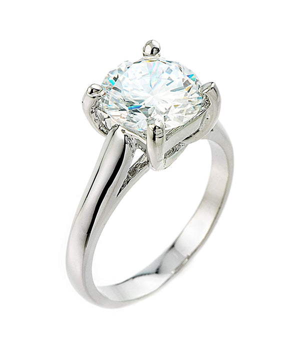 CERTIFIED 3 ct Sterling Silver  (9 mm) CZ Solitaire Engagement Ring