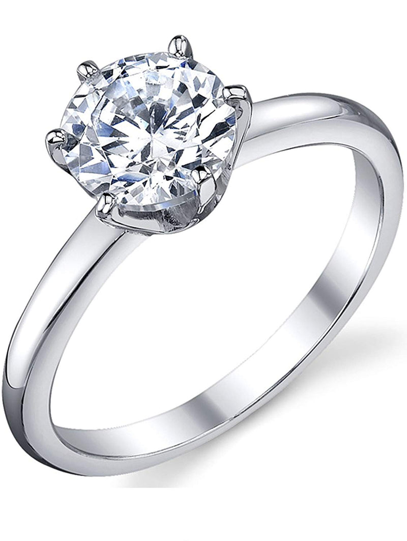 CERTIFIED 1.25 Carat Round Brilliant Cubic Zirconia Sterling Silver Engagement  Ring