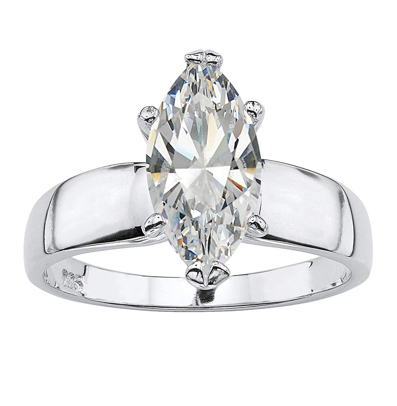 CERTIFIED Seta Jewelry Sterling Silver Marquise Cut Cubic Zirconia Solitaire Engagement Ring
