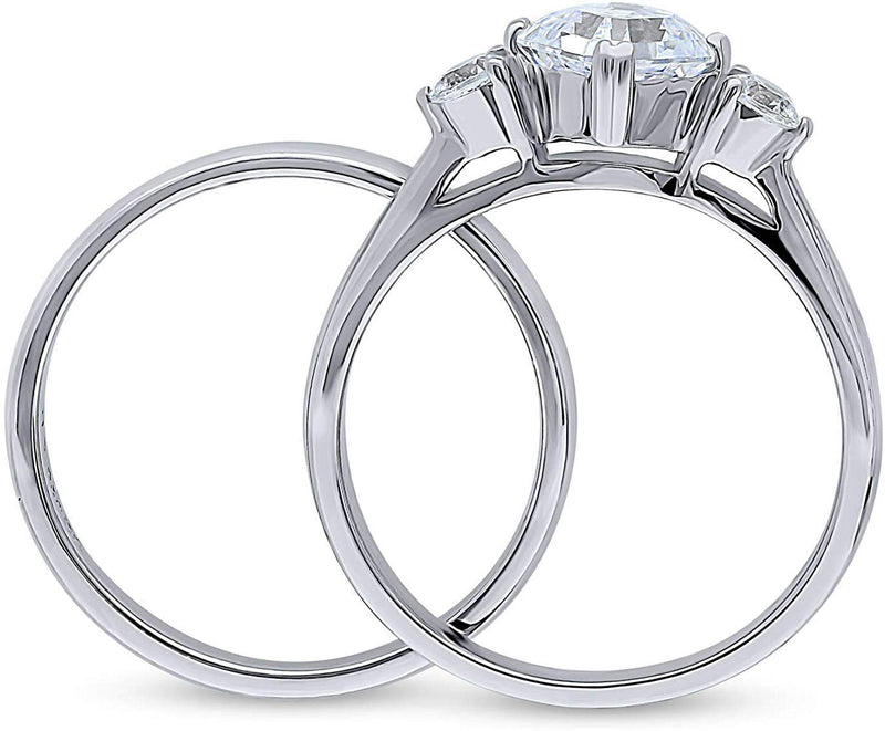 1.46 CTW Silver 3-Stone Anniversary Engagement Ring Set with Swarovski Zirconia