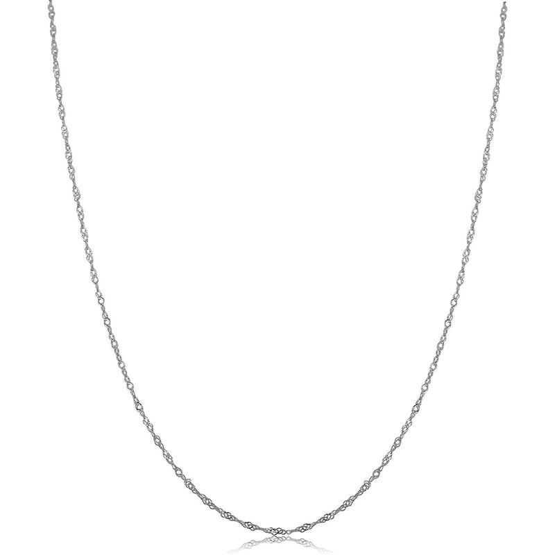 CERTIFIED Kooljewelry 14k White Gold Singapore Chain Necklace (0.7 mm, 1 mm, 1.4 mm, 1.7 mm)