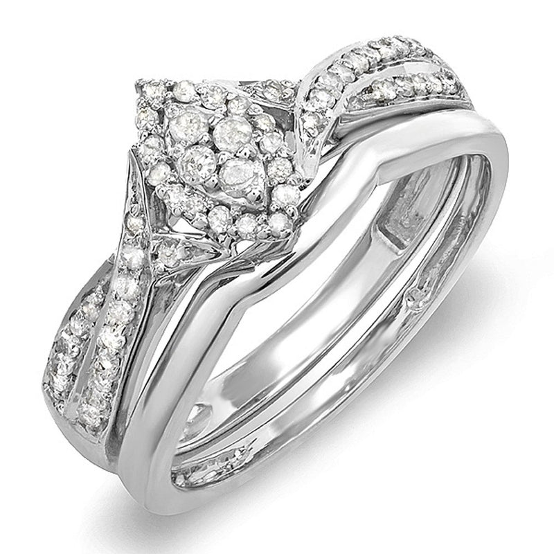 CERTIFIED 0.33 Carat (ctw) Diamond Marquise Bridal Engagement Set Sterling Silver