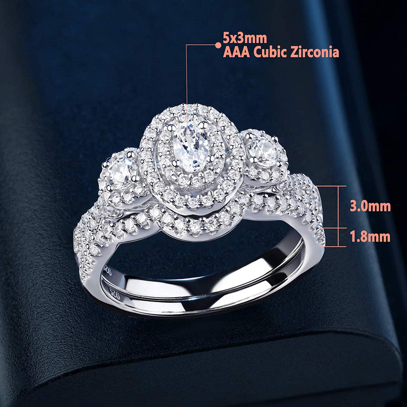 1.80 cttw Wedding Ring Set Engagement Rings 3 Stone Sterling Silver Cubic Zirconia