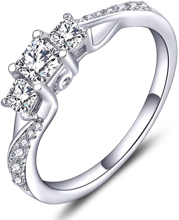 CERTIFIED Sterling Silver Clear Cubic Zirconia 3-stone Princess Cut Wedding Rings for Engagement Jewelry