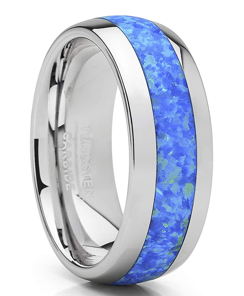 CERTIFIED 8mm Tungsten Carbide Wedding Band Dome Blue Green Simulated Opal Inlay.